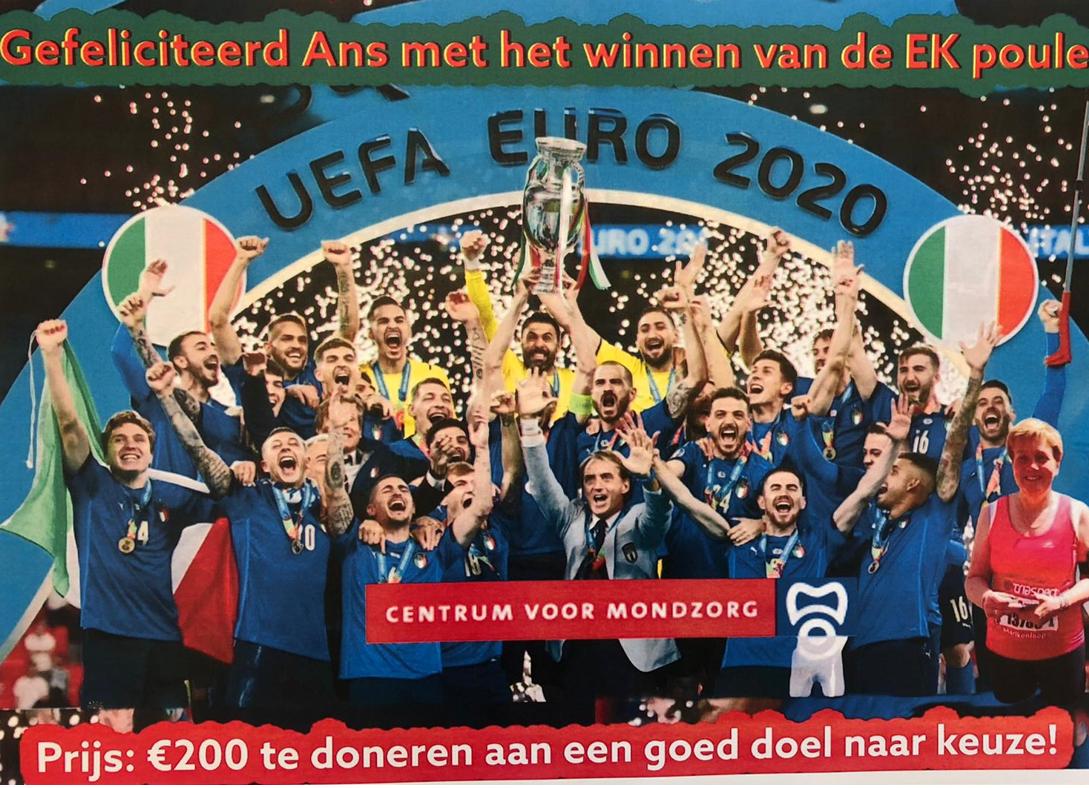 Ans Bens wint EK Poule en doneert €200,-!